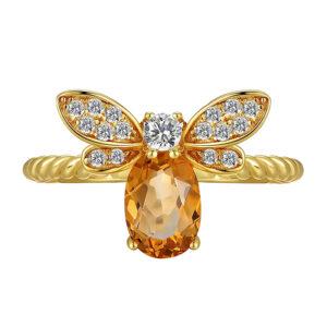 14 Karat Gold Rings, Crystal Ring, Holiday Gifts