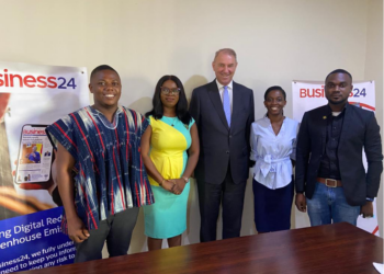 (L-R) Richard Annerquaye Abbey, Managing Editor; Ruth Fosua Tetteh, Business Development Manager; Ron Strikker, outgoing Dutch Ambassador; Gifty Baaba DesBordes, Communications Officer at the Dutch Embassy; and Benson Afful, Editor of Energy sub-desk, Business24