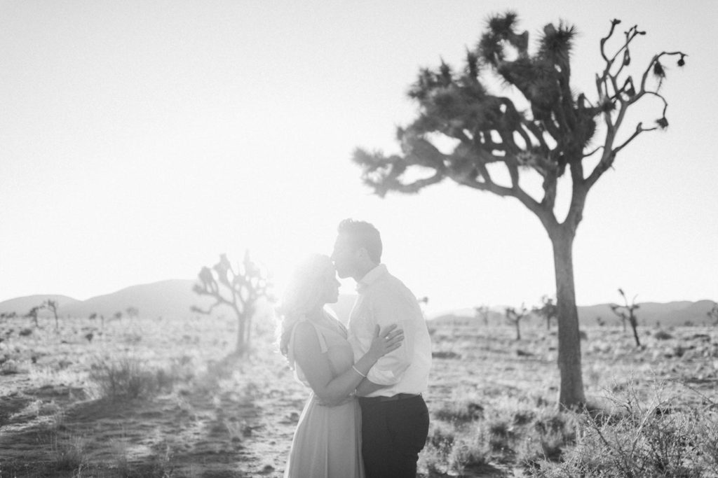Joshua Tree California Engagement Session in black and white