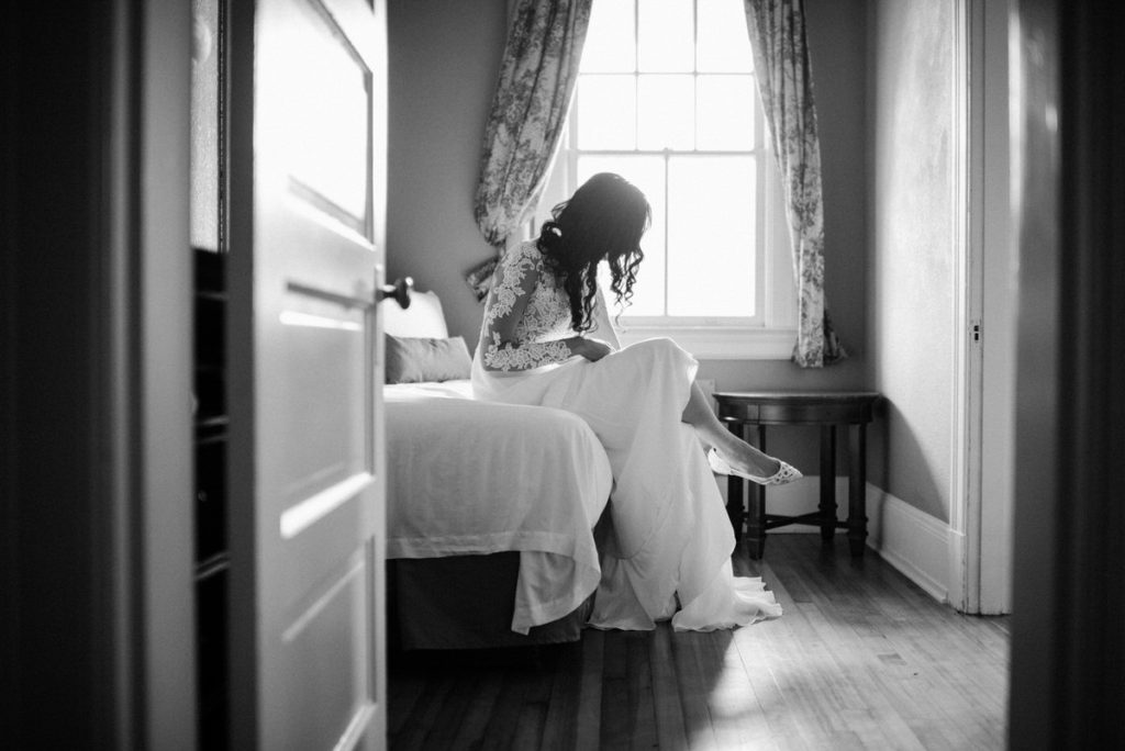 Bride getting ready at Fort Worden in Port Townsend