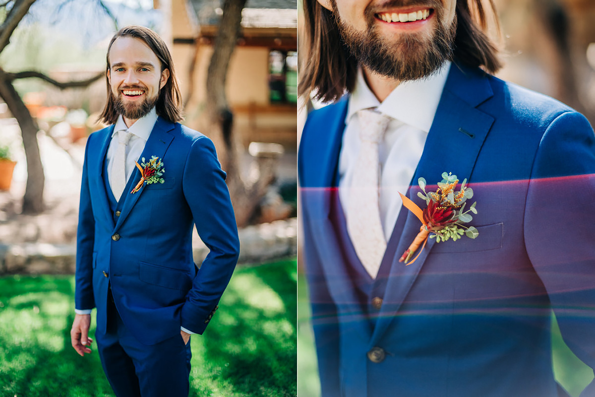 Groom's boutonniere at wedding at Tanque Verde Ranch in Tucson, Arizona
