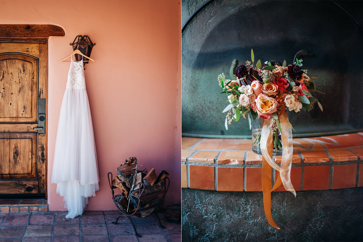 Wedding dress and bouquet at Tanque Verde Ranch wedding in Tucson