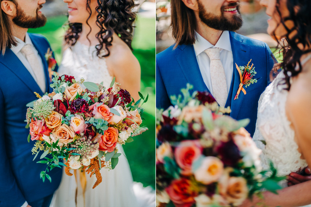 Desert Flowers bouquet and boutonniere at Tanque Verde Ranch Wedding in Tucson