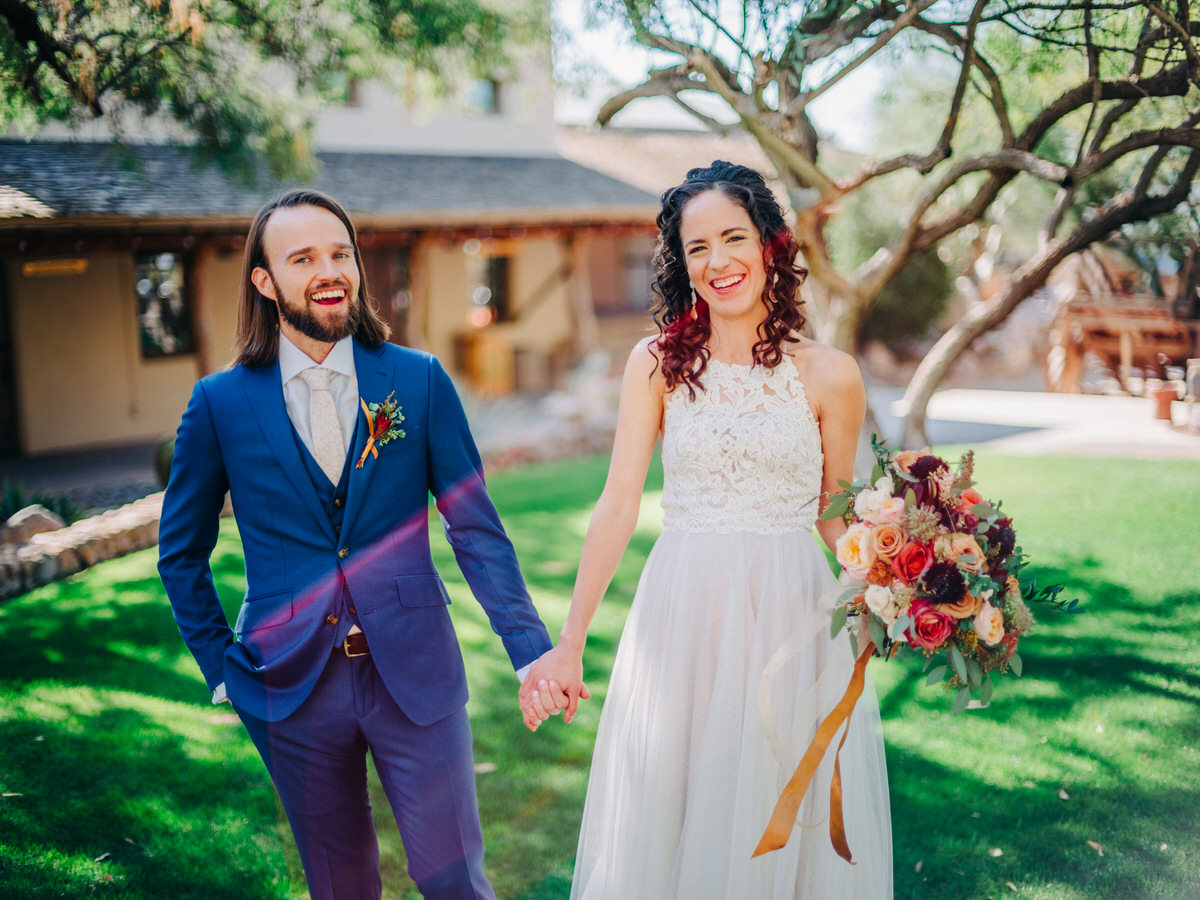 Bride and Groom portrait at Tanque Verde Ranch, Tucson