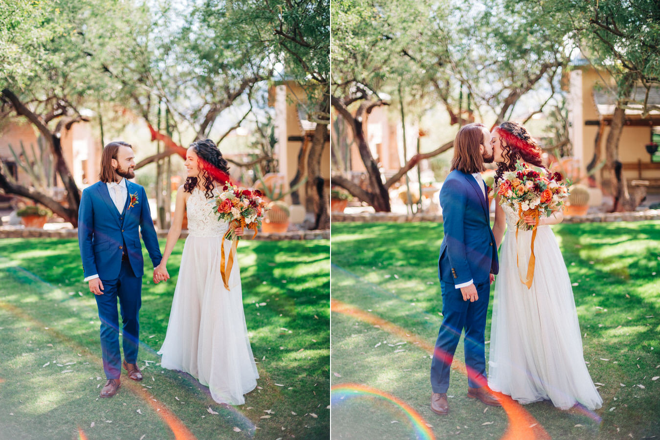 Bride and Groom at wedding at Tanque Verde Ranch in Tucson, Arizona