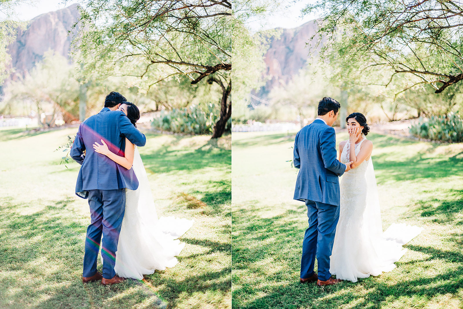 Bride and Groom first look at Saguaro Lake Guest Ranch wedding