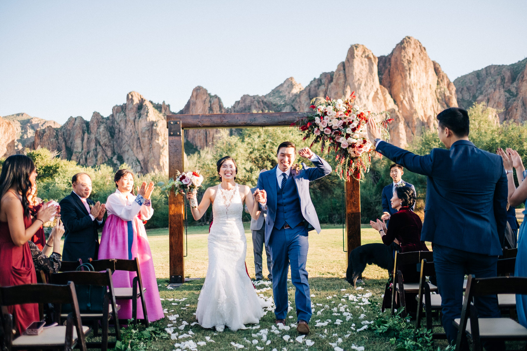 Bride and Groom walking down aisle after ceremony at Saguaro Lake Guest Ranch wedding
