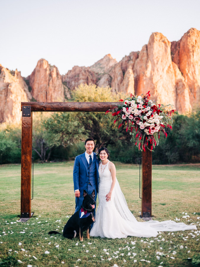 Saguaro Lake Ranch Wedding with Bride and Groom and dog at ceremony site