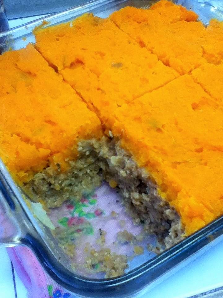 sweet potato walnut lentil casserole