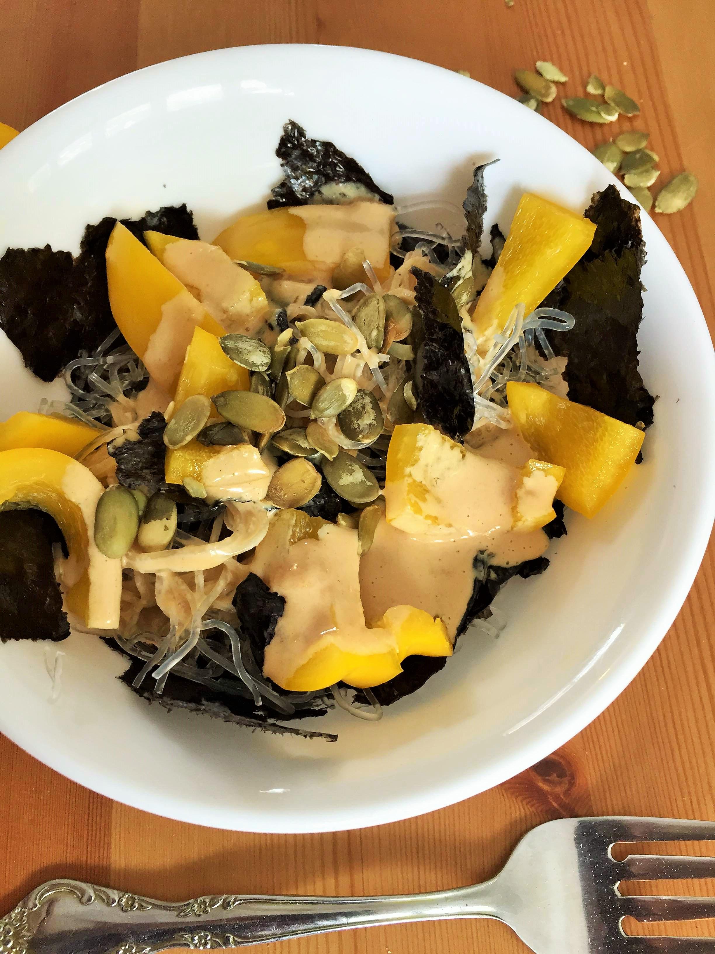 Kelp Noodle Dish with a Tamari Tahini Miso Sauce