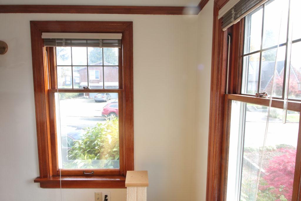two shellaced single pane windows