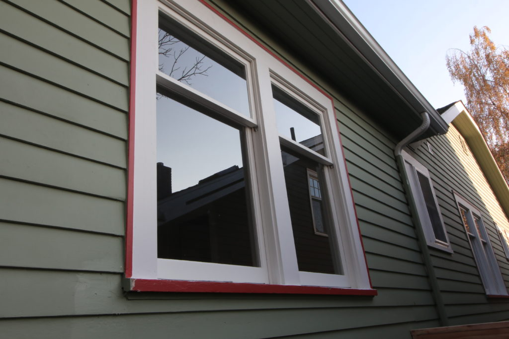 exterior side of restored double hung windows