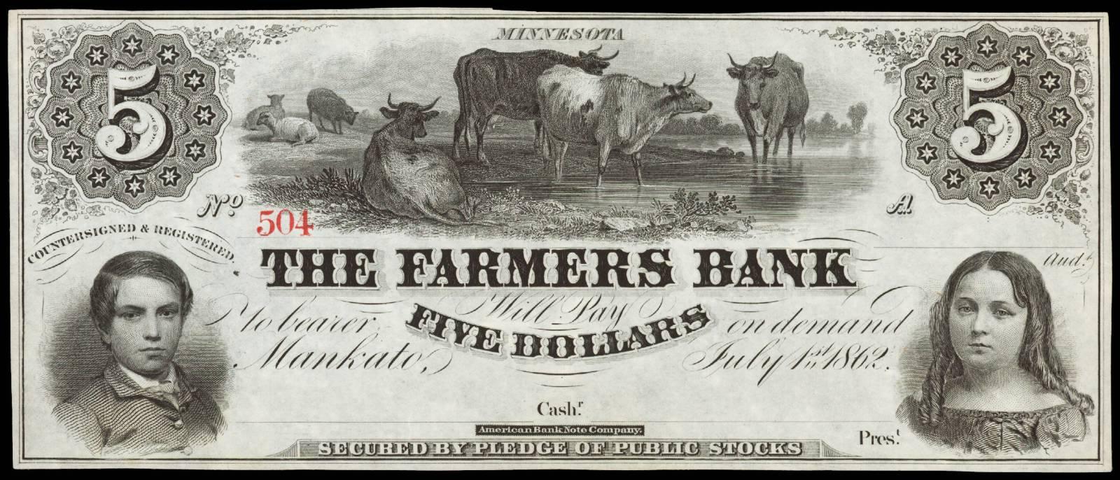$5 Farmers Bank of Mankato