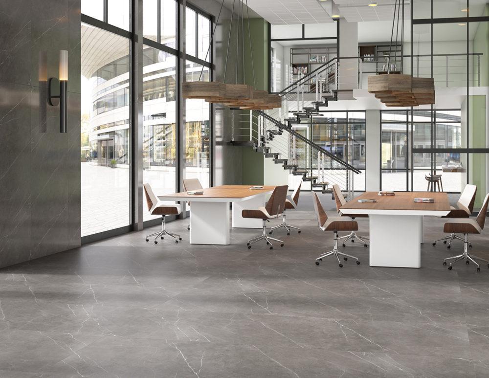 Contemporary Office Marble Look Flooring CGI