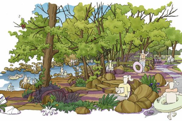 Eben Fine Park - Flood Recovery Conceptual Rendering