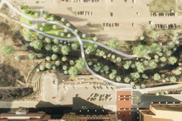 CU Boulder 23rd Street Bridge - Plan View Rendering