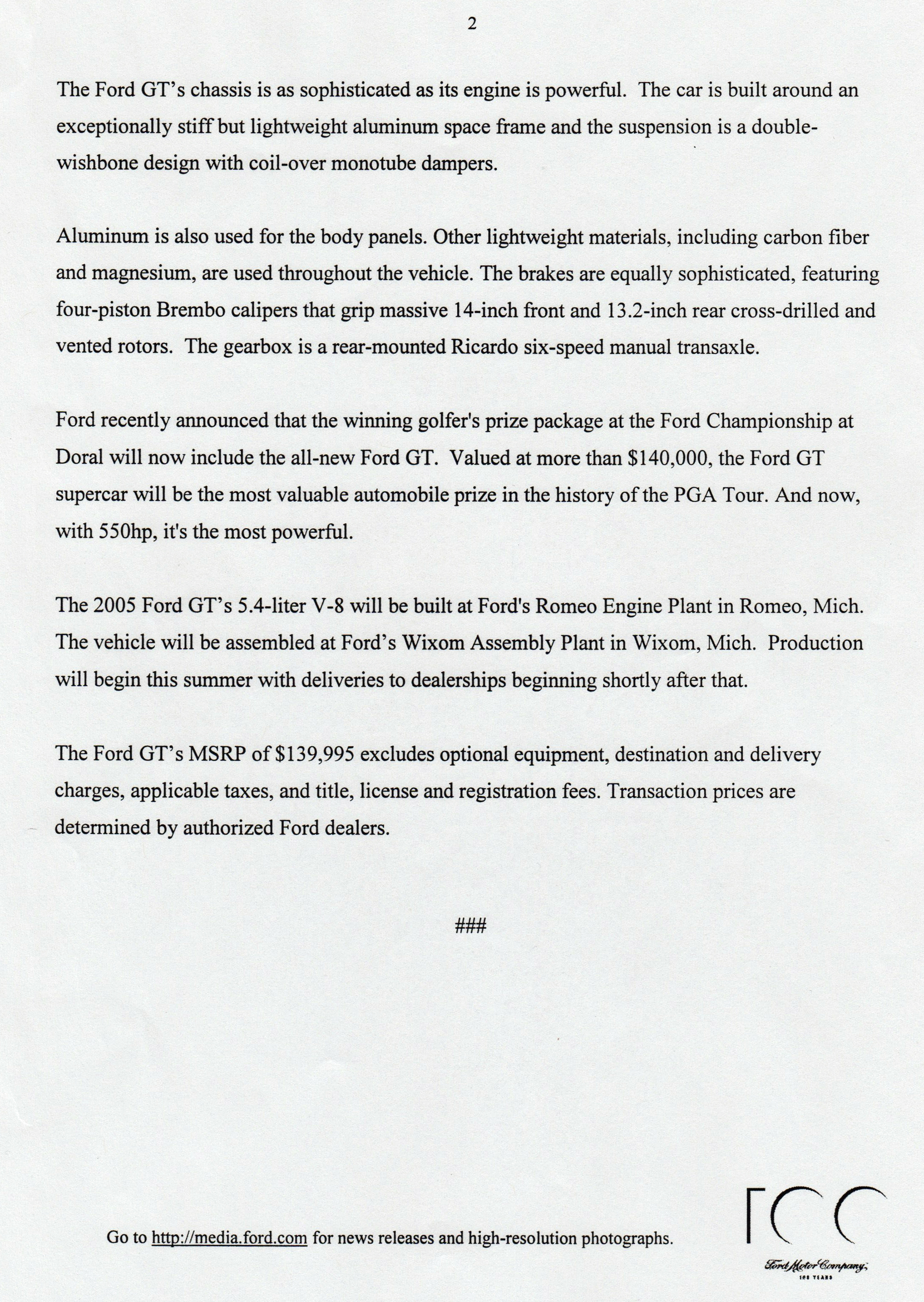 2005 Ford GT Horsepower Rating Page 2