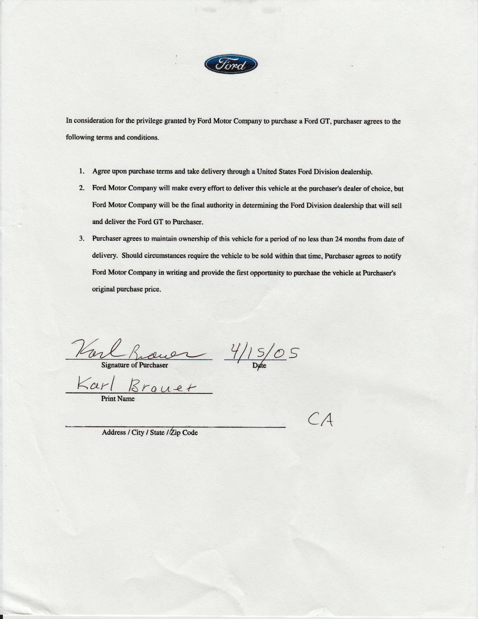 2005 Ford GT Purchase Agreement