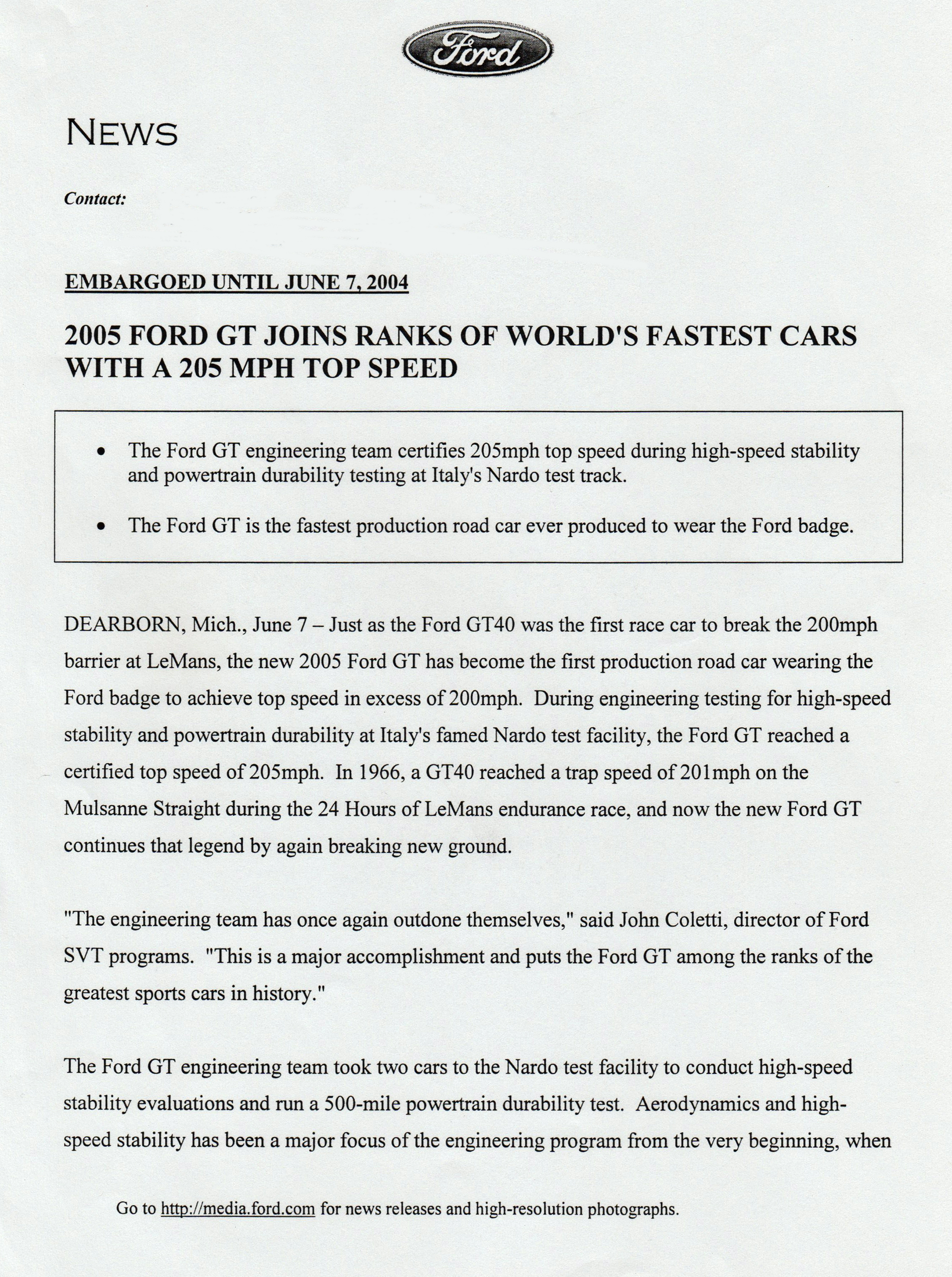 2005 Ford GT Top Speed press release