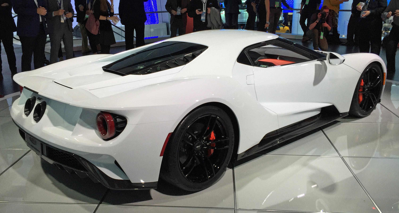 2017 Ford GT White Detroit Auto Show Rear