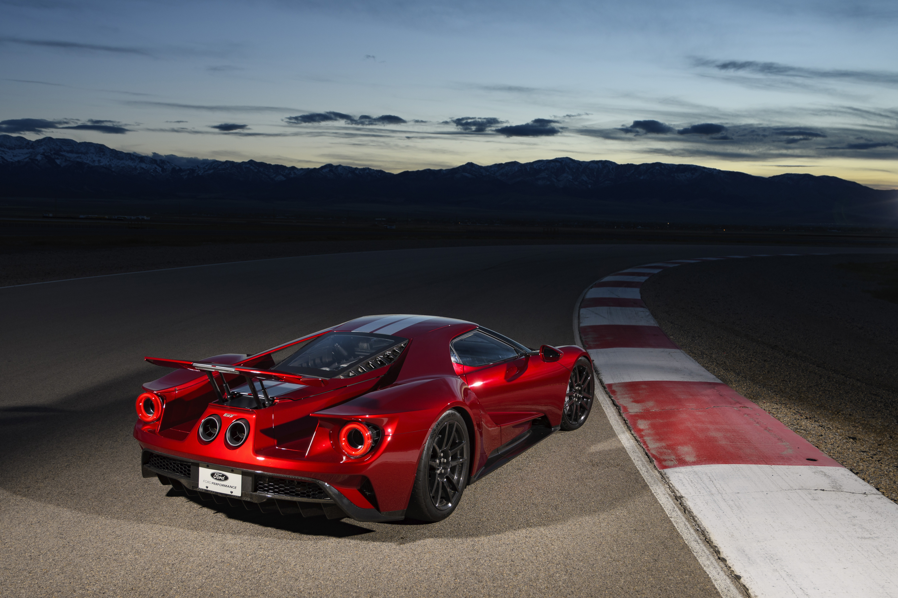 New Ford GT Liquid Red Silver On Track Dusk