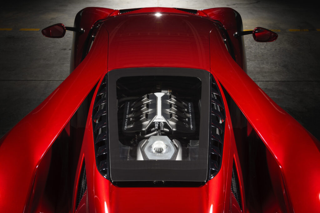 New Ford GT Engine in a Liquid Red Car