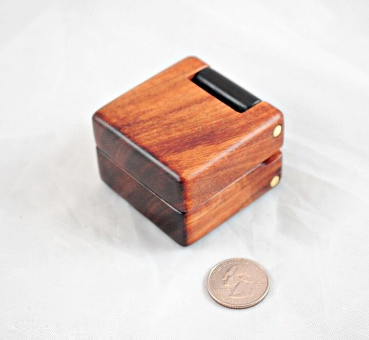 Double Wood Hinge Ring Boxes