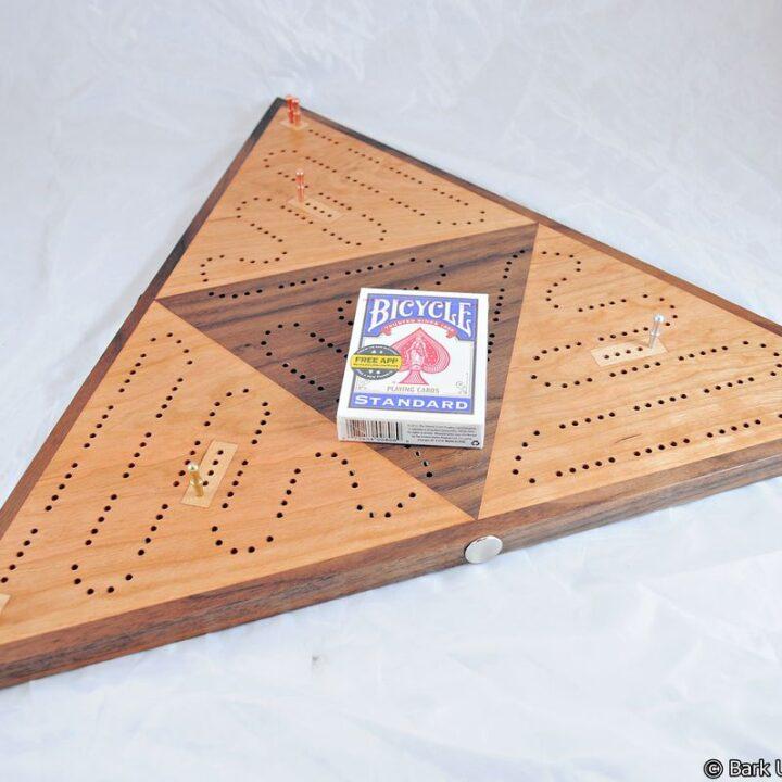 Triangle Cribbage Race Board - Cherry, Walnut & Maple