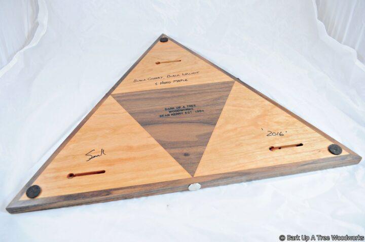 Triangle Cribbage Race Board - Cherry, Walnut & Maple - Back