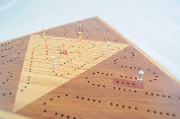 Triangle 3 Player Cribbage Race Board - Cumaru & Red Oak with Padauk Inlays Side