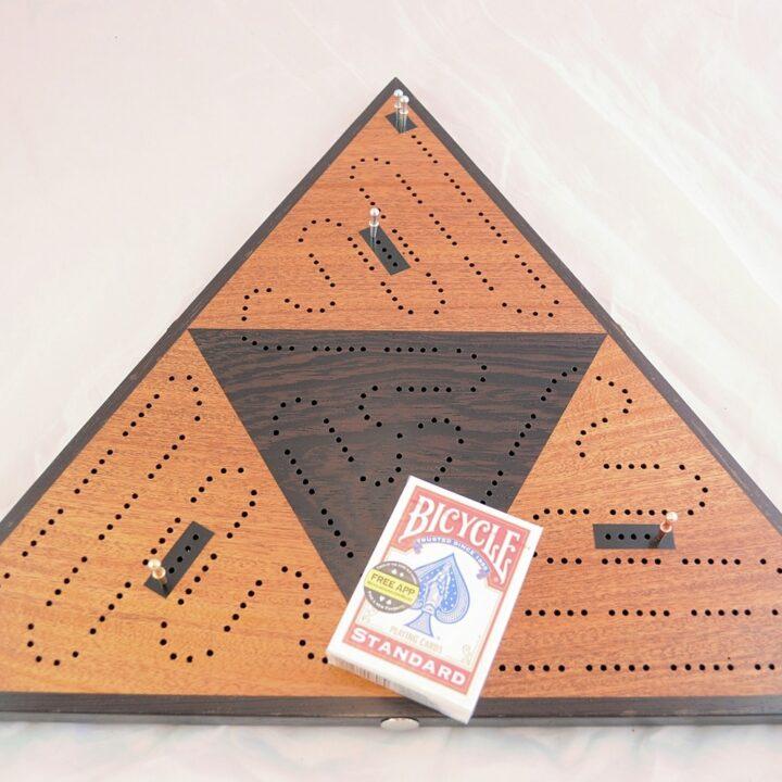 Triangle 3 Player Cribbage Race Board - Khaya & Wenge with Ebony Inlays High