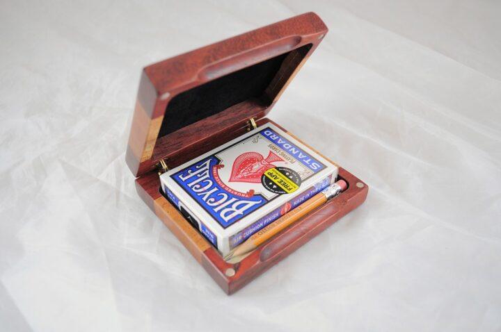Playing Card Case #51 - Padauk & Khaya Open