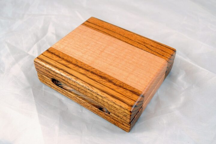 Playing Card Case #53 - Zebrawood & Curly Maple