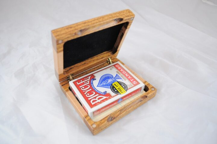 Playing Card Case #53 - Zebrawood & Curly Maple Open