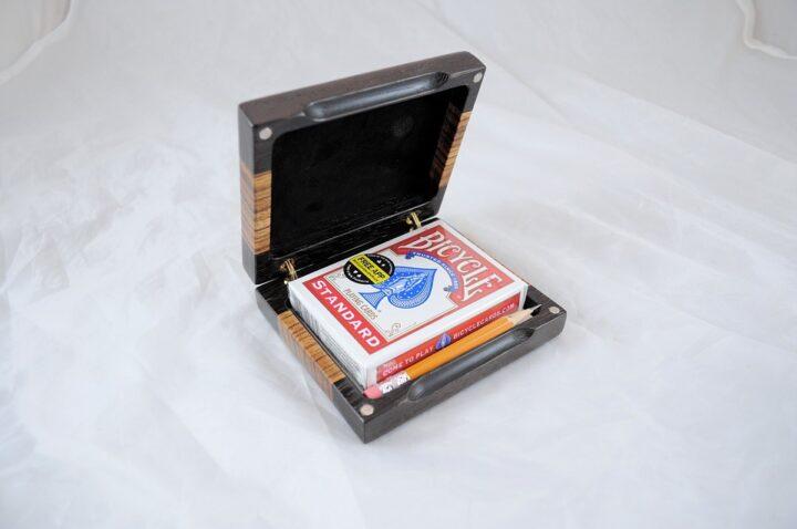 Playing Card Case #57 - Wenge & Zebrawood Open