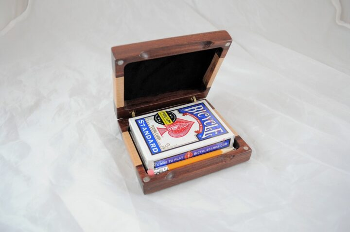 Playing Card Case #61 - Granadillo & Curly Maple Open