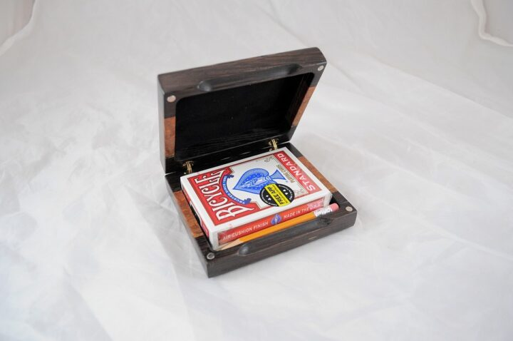 Playing Card Case #62 - Wenge & Leopardwood Open