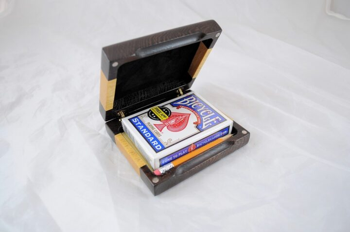 Playing Card Case #68 - Wenge & Yellowheart Open