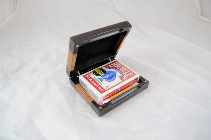 Playing Card Case #72 - Wenge & Black Cherry Open