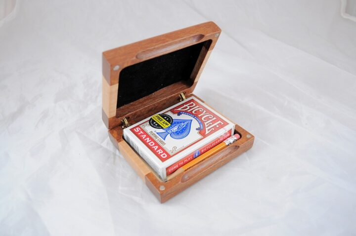 Playing Card Case #84 - Leopardwood & Curly Maple Open