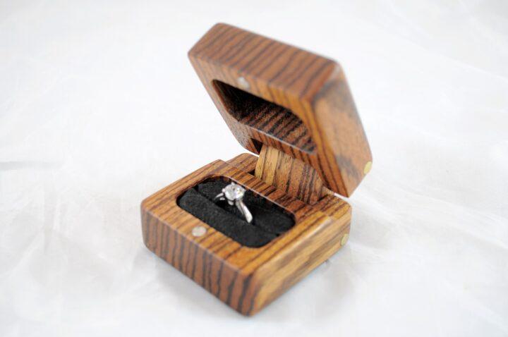 Ring Box - Zebrawood - Side Open
