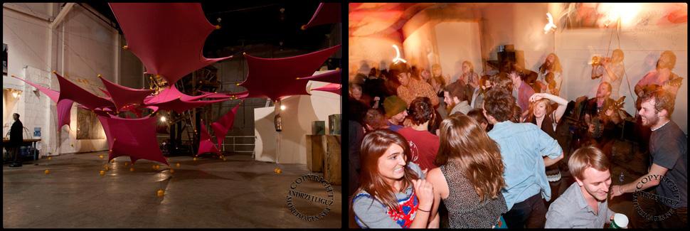 The mezzanine at Gowanus Ballroom / Morgan O'Kane performing