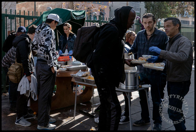 Feeding the homeless, San Julian Park, Skid Row. LA, Christmas Day 2018