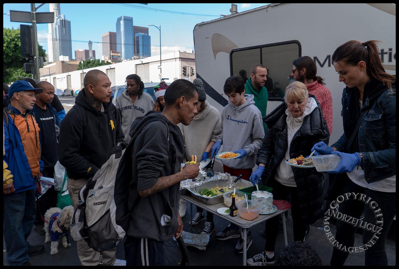 Feeding the homeless, Skid Row, LA, Christmas Day 2018