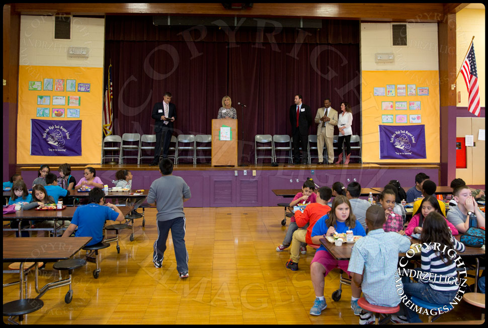 Speakers at the launch of the Lets Move Salad Bar at Vails Gate Elementary School in New Windsor, NY © Andrzej Liguz/moreimages.net. Not to be used without permission