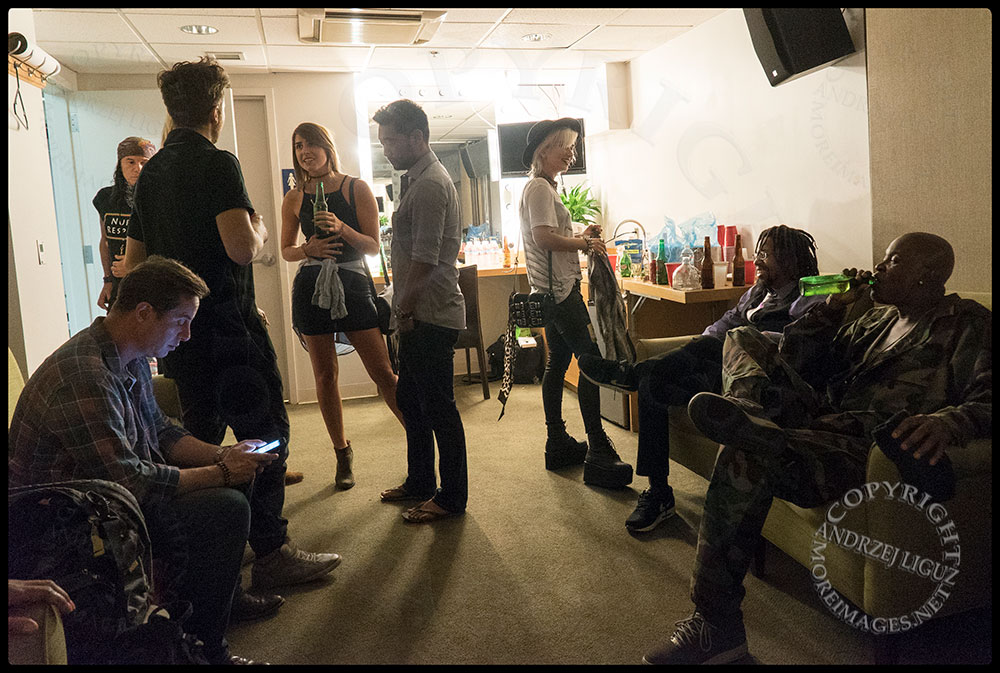 The mens dressing room before the show at the at the Greek Theater in LA