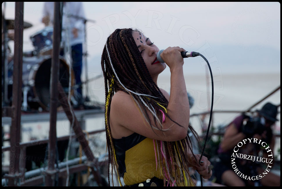 LouLou singing with Thievery Corp at Burning Man © Andrzej Liguz/moreimages.net. Not to be used without permission