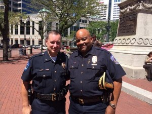 This is an example of an IMPD officer wearing a full uniform.
