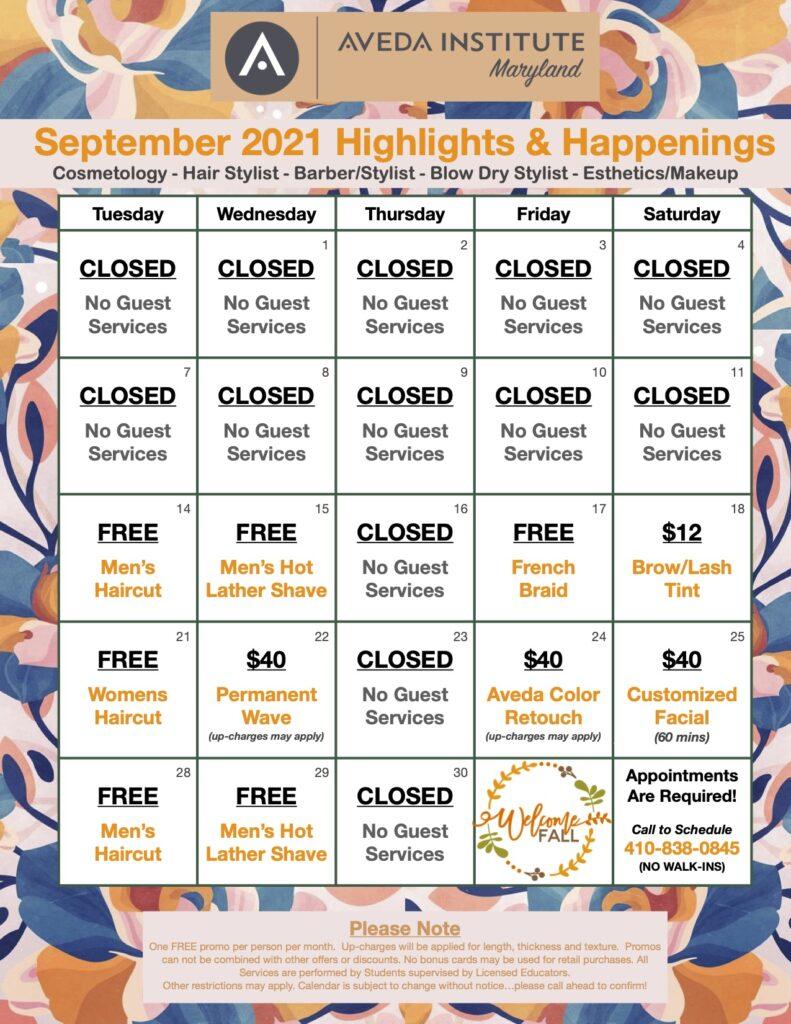 Aveda Institute Maryland September Guest Services Calendar.