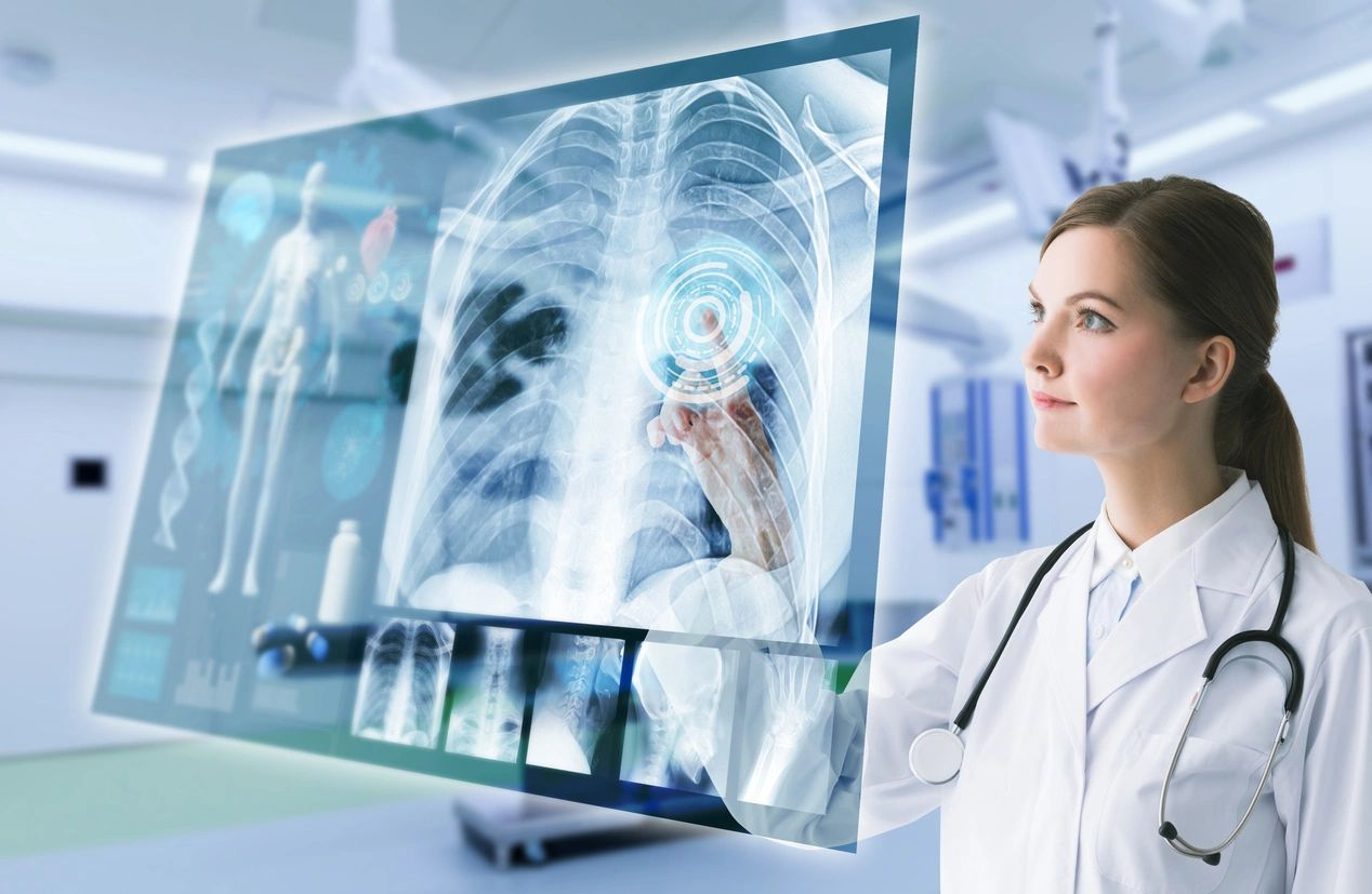 female doctor reviewing lung xray